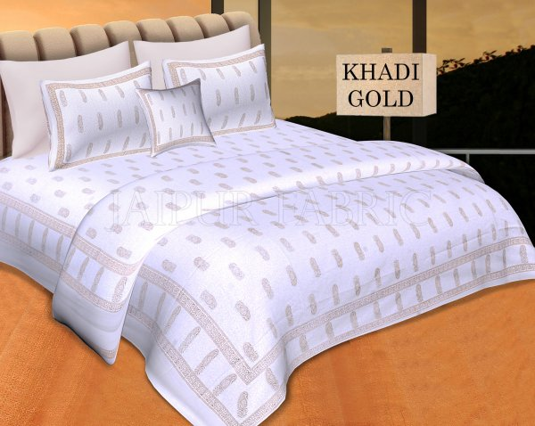 White Base With Golden Keri Hand Block Print Double Cotton Bed Sheet