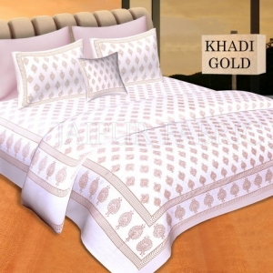 White Base With Golden hand Block Print Double Cotton Bed Sheet
