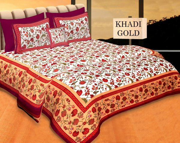 Cream Base Red Border Golden Floral Print Cotton Double Bed Sheet