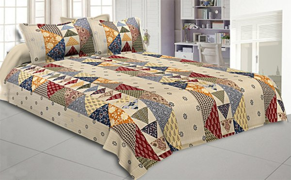 Barmeri Pastel Twill Cotton  Double Bedsheet With Colorful Patchwork Design
