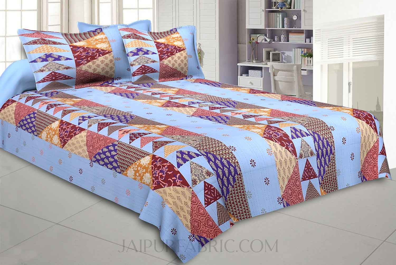 Blues Twill Cotton  Double Bedsheet With Colorful Patchwork Design