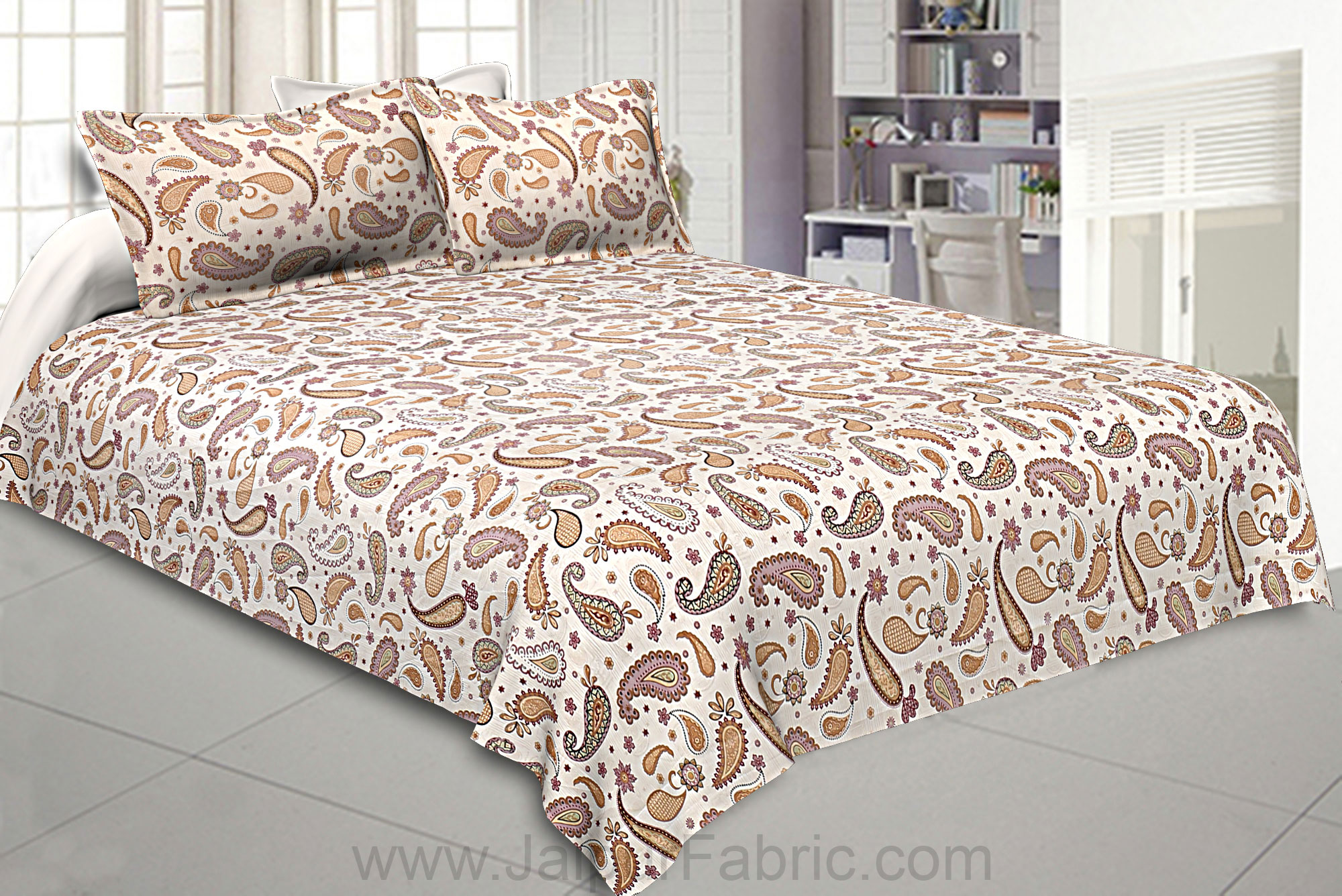 Bed in a Bag Paisley Creamish Pink Double BedSheet Comforter Combo