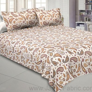 Paisley Creamish Pink 240 TC King Size Double Bedsheet