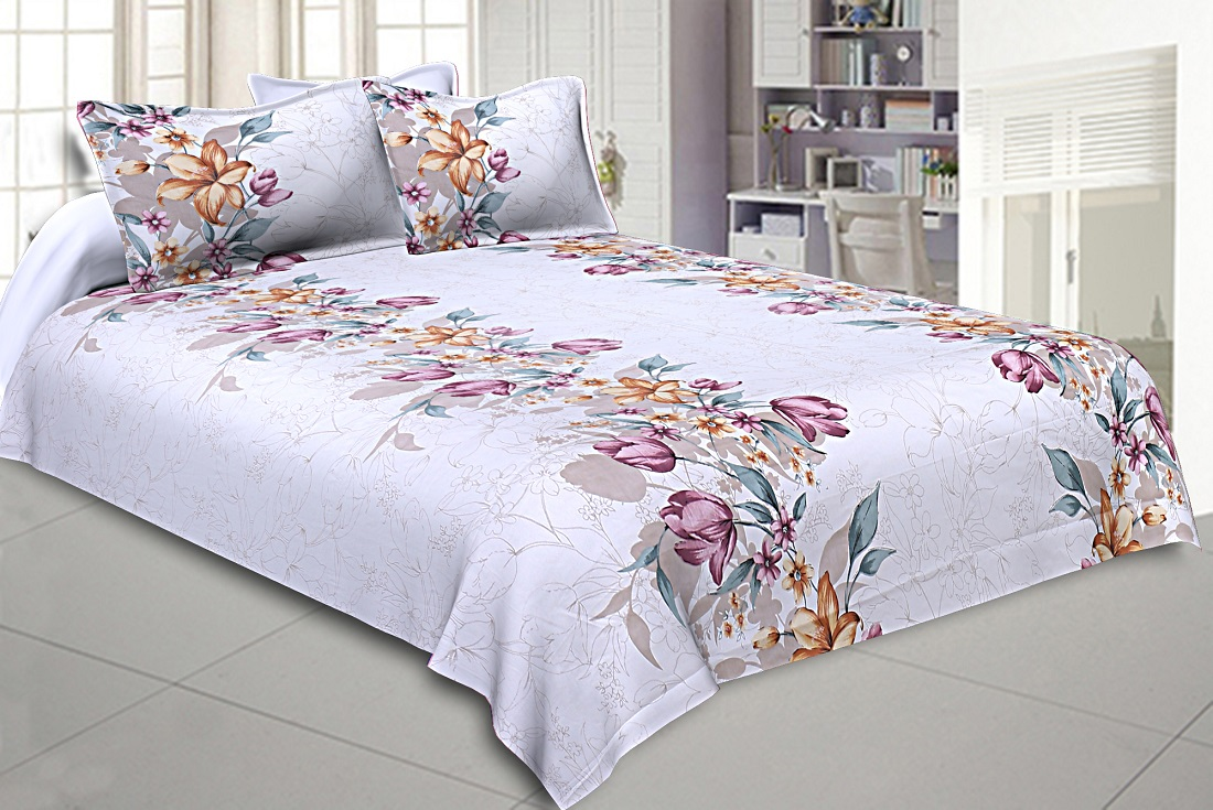 Double Bedsheet Twill Cotton Fuchsia Pink Floral Motif Print