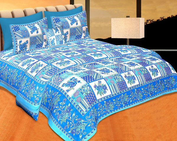 Blue Color Golden Floral Print Square Design Cotton Double Bed Sheet