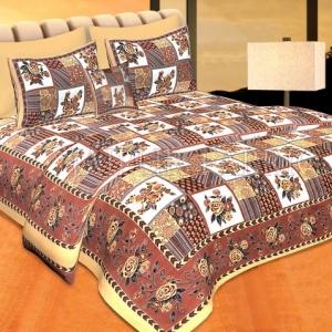Beige Color Floral Print Square Design Cotton Double Bed Sheet