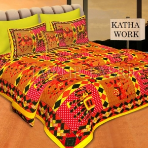 Yellow Jaisalmer Handmade Embroidery with katha Thread Work Elephant Print Double Bed Sheet with Two Pillow Covers