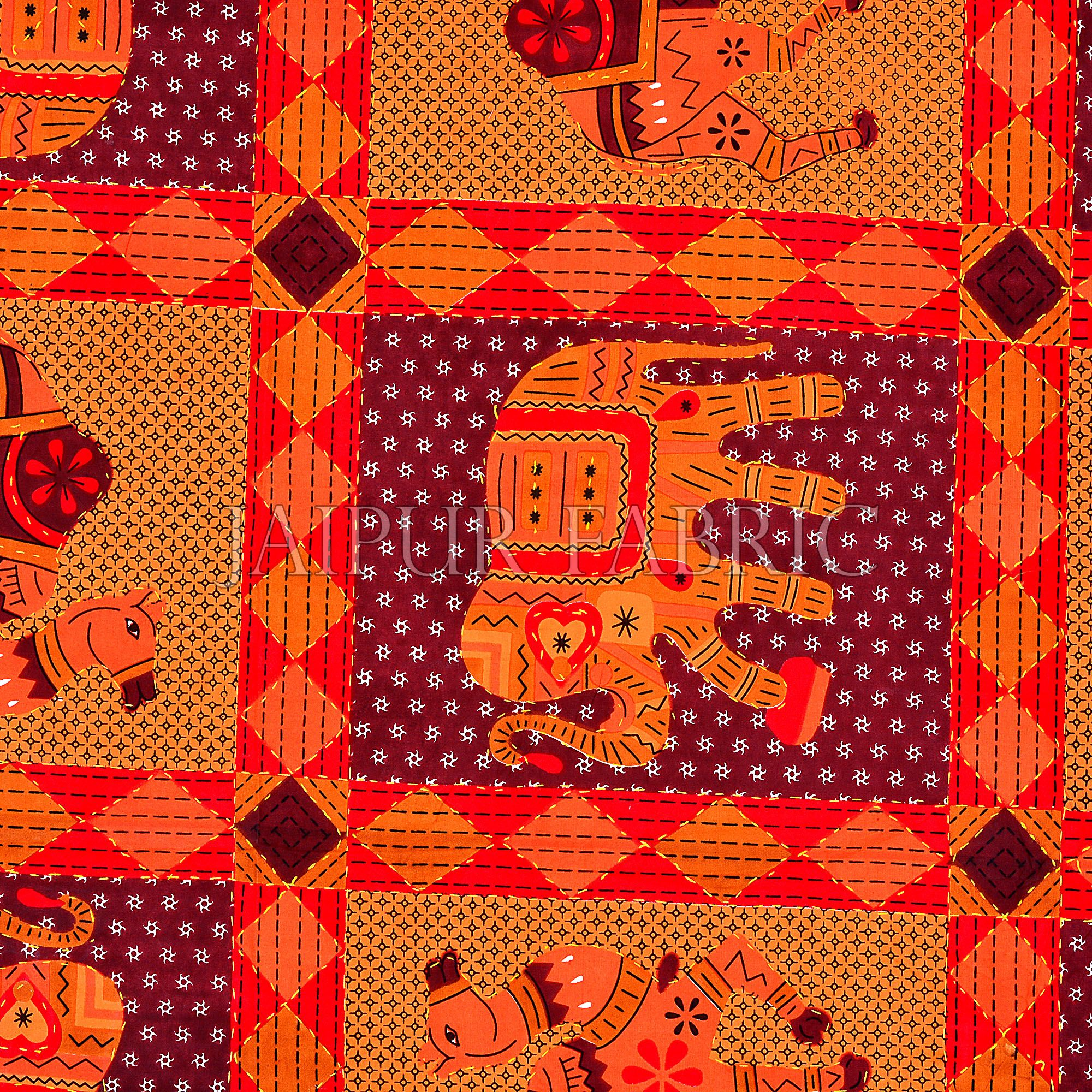 Red Jaisalmer Handmade Embroidery with katha Thread Work Elephant Print Double Bed Sheet with Two Pillow Covers