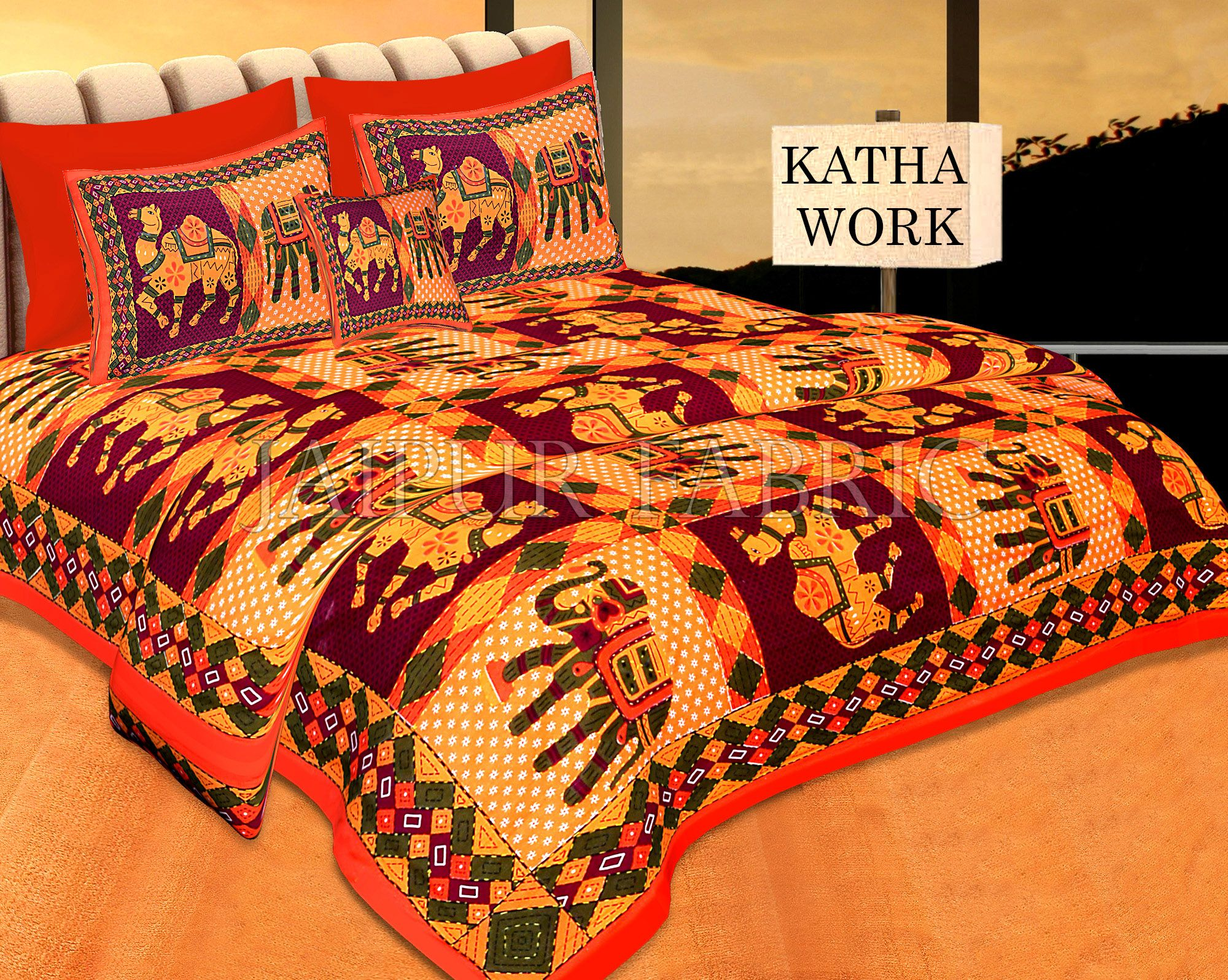 Orange Jaisalmer Handmade Embroidery with katha Thread Work Elephant Print Double Bed Sheet with Two Pillow Covers