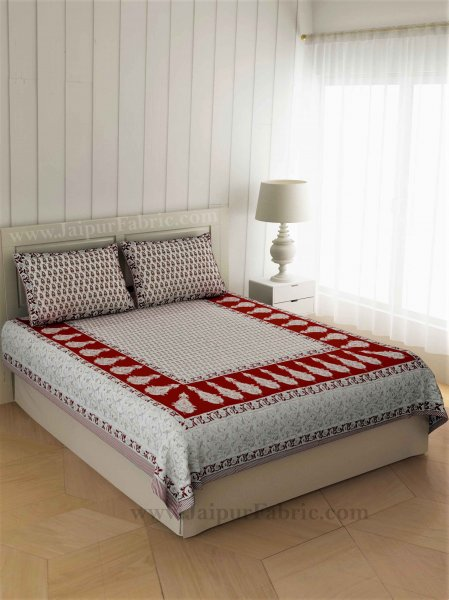 Double Bedsheet Sindoori Red Printed Cotton 2 Pillow Cover