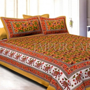 Brown Base jaipur Handmade animal print bedsheet With pillow Covers