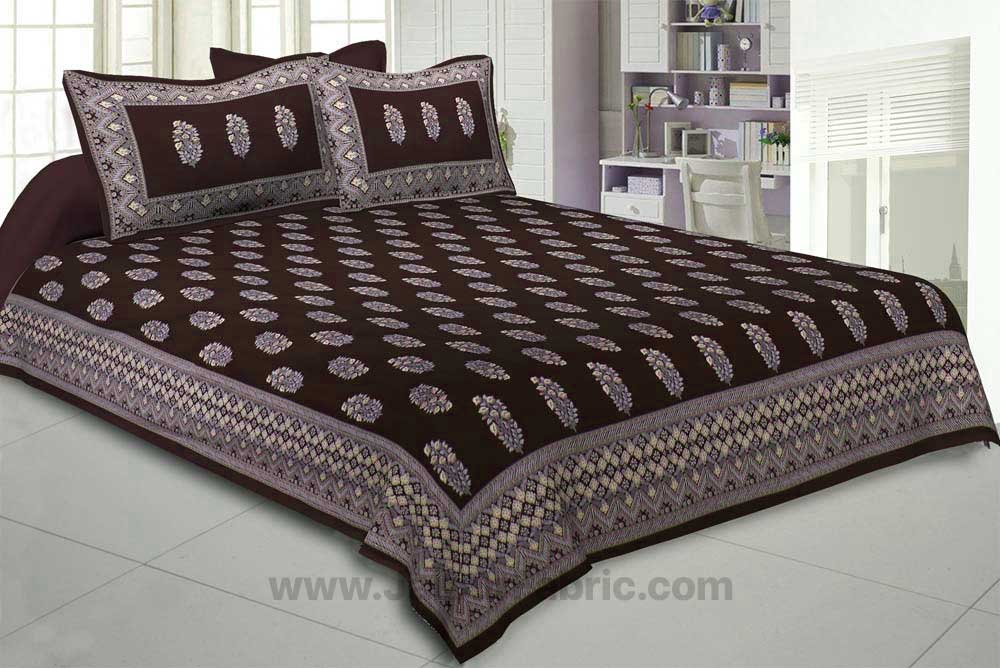 Brown Royal Rajwada Hand Block Print Double Bedsheet with Discharge Printing