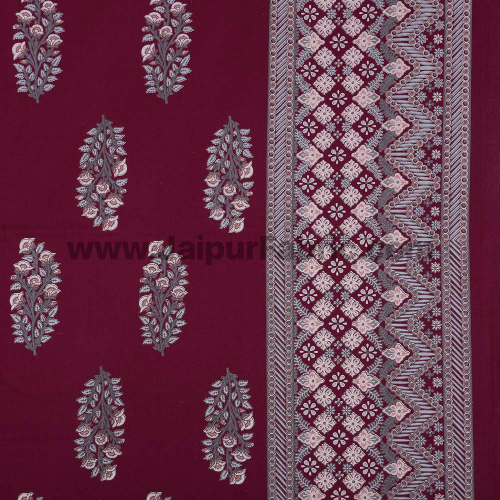 Maroon Royal Rajwada Hand Block Print Double Bedsheet with Discharge Printing