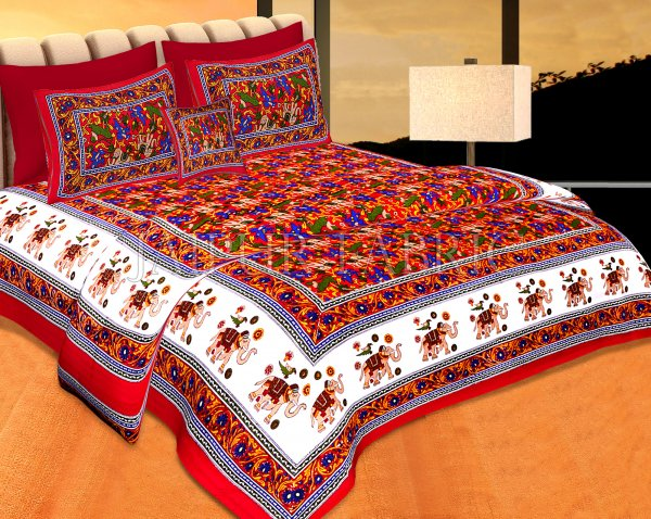 Red Base jaipur Handmade animal print bedsheet With pillow Covers