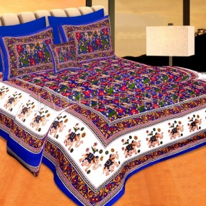 Blue Base jaipur Handmade animal print bedsheet With pillow Covers