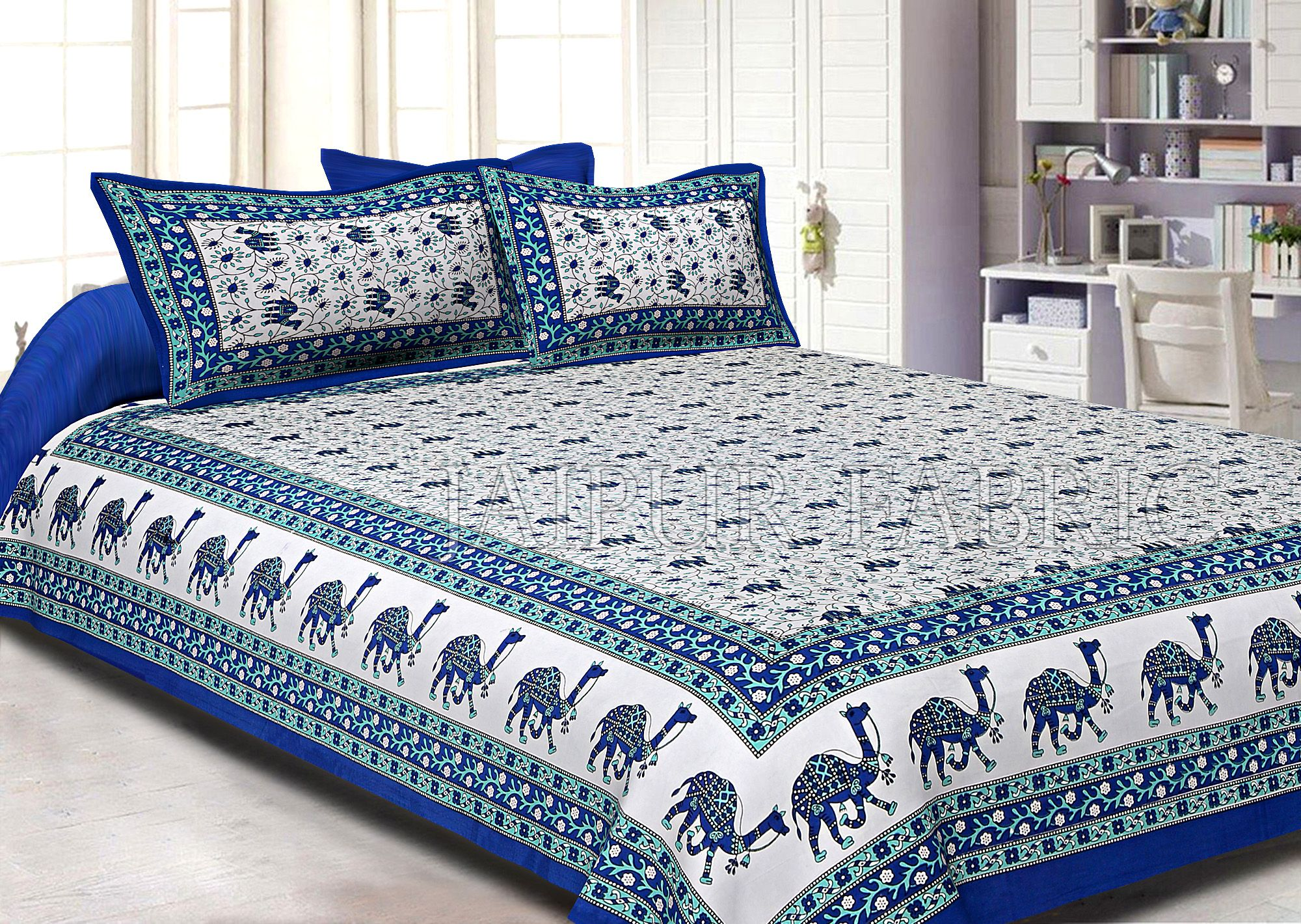 Blue Border Camel Pattern Screen Print Cotton Double Bed Sheet