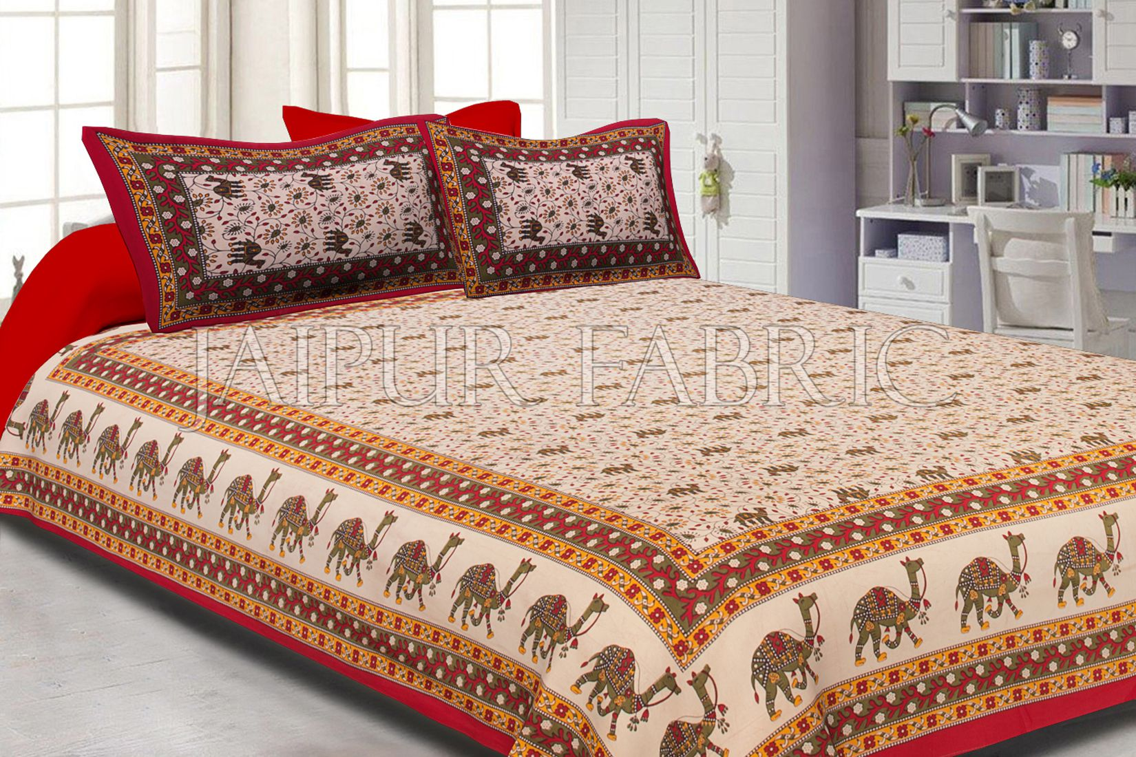 Maroon Border Camel Pattern Screen Print Cotton Double Bed Sheet