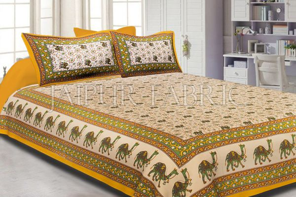 Yellow Border Camel Pattern Screen Print Cotton Double Bed Sheet