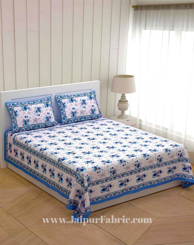 Blue Bunch of Flowers Double Bedsheet