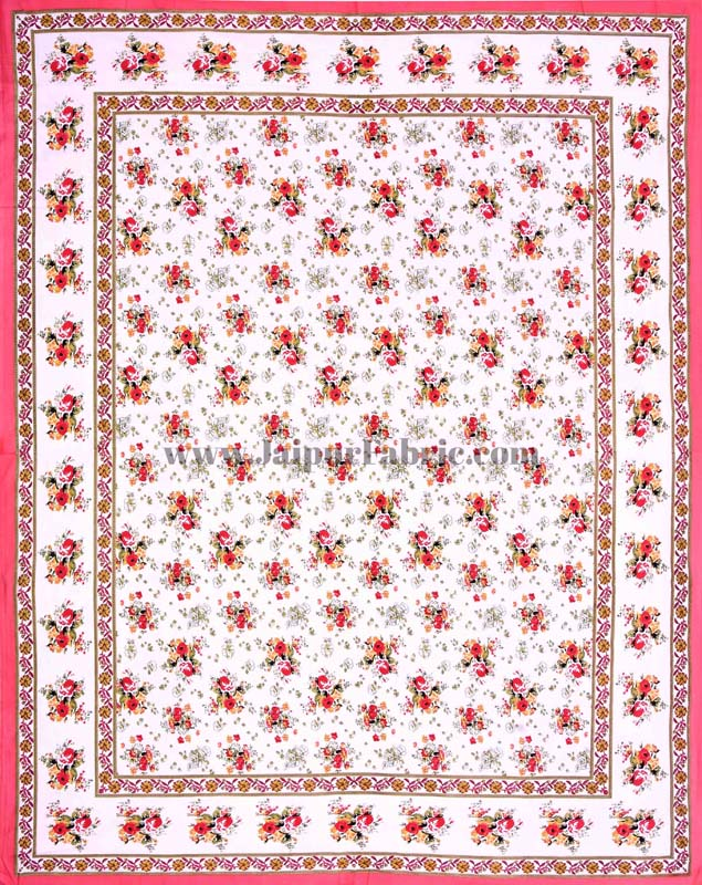 Pink Bunch of Flowers Double Bedsheet