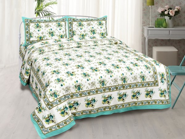 SeaGreen Bunch of Flowers Double Bedsheet