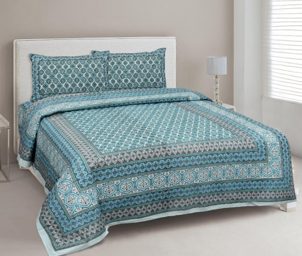 Ethnic Charm Blue Double Bedsheet