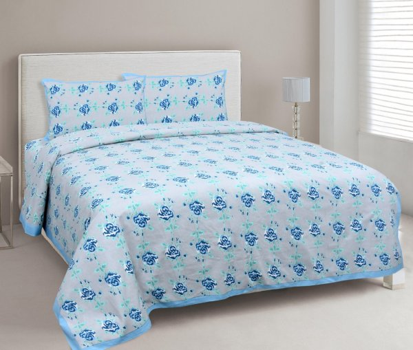 Blue Garland Double Bedsheet