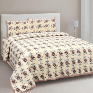 Brown Garland Double Bedsheet