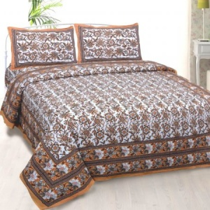 Vibrant Brown Wavy Flora Double Bedsheet