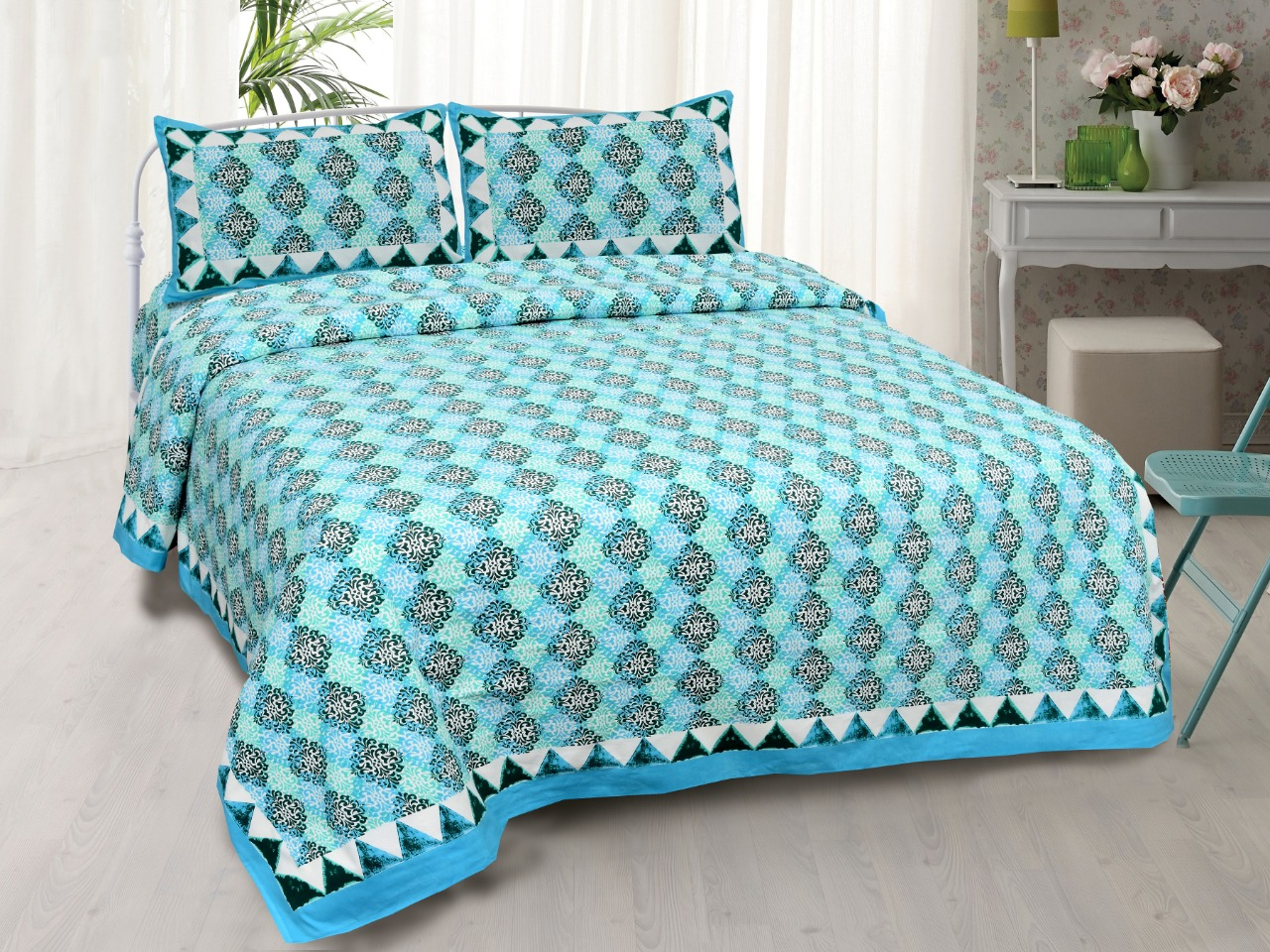 Traditional Delight Blue Double Bedsheet