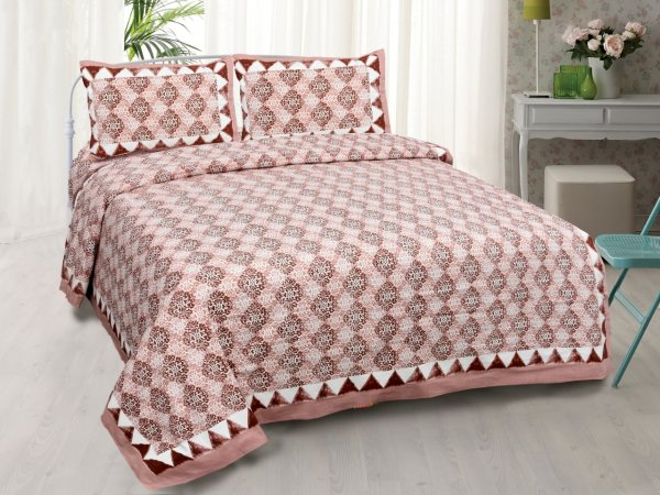 Traditional Delight Maroon Double Bedsheet