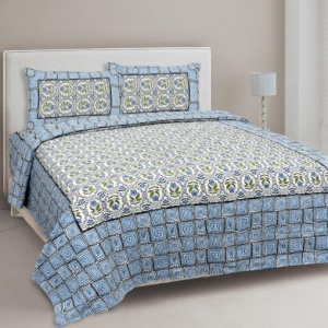 Blue Stylish Square Waves Double Bedsheet