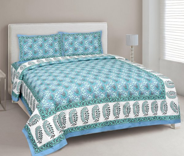 Lovely Lotus Blue Double Bedsheet