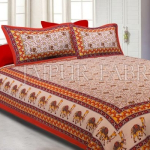 Orange Border Camel Pattern Screen Print Cotton Double Bed Sheet
