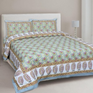 Lovely Lotus Colourful Double Bedsheet