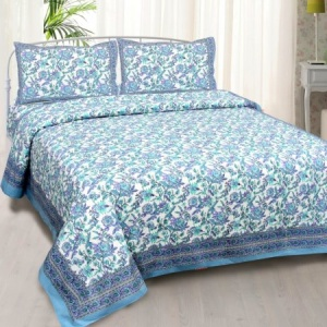 Fantastic Flowers Blue Double Bedsheet