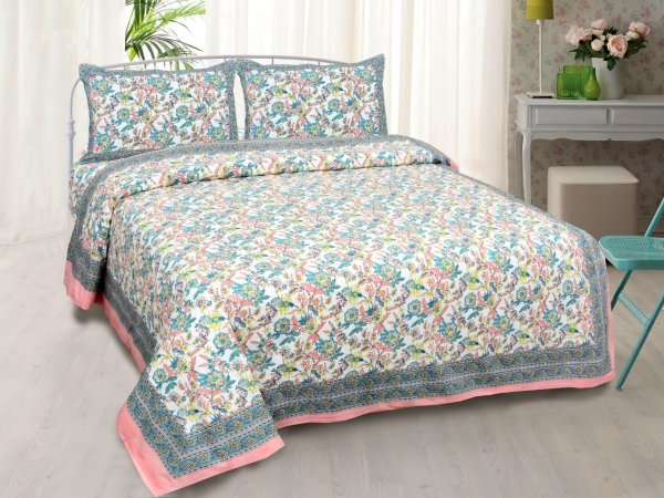 Fantastic Flowers Colorful Double Bedsheet