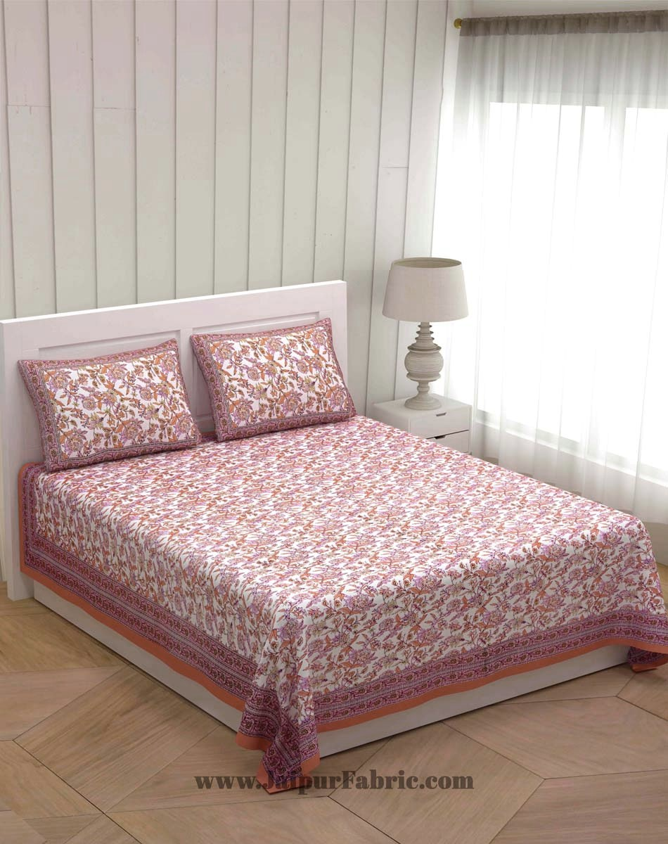 Fantastic Flowers Peach Double Bedsheet
