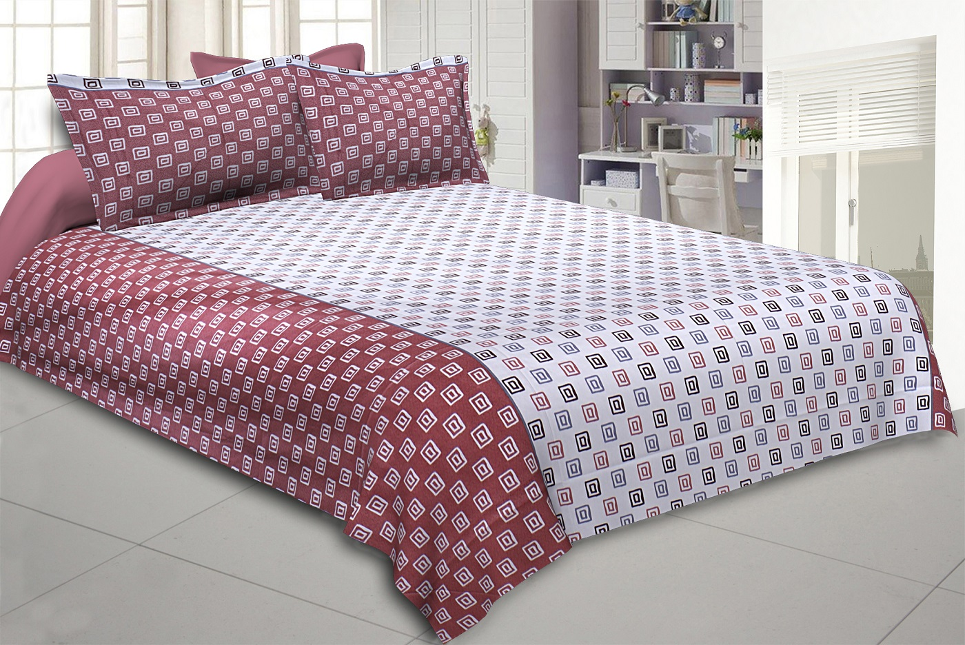 The Good Life Red Double BedSheet