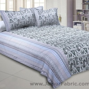 Tribal Art Grey Double Bedsheet