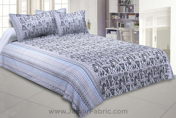 Tribal Art Blue Double Bedsheet
