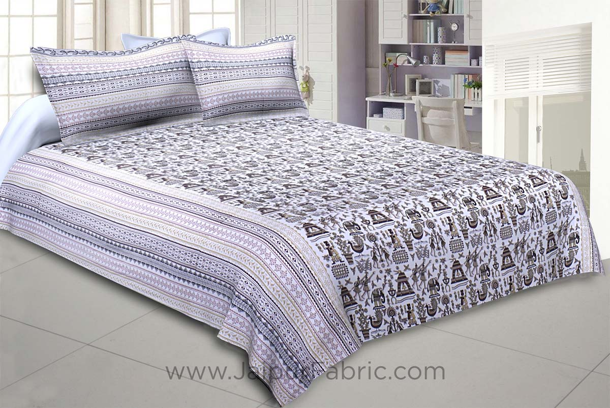 Tribal Art Brown Double Bedsheet