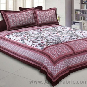 Nature Beauty Dark Pink Double Bedsheet