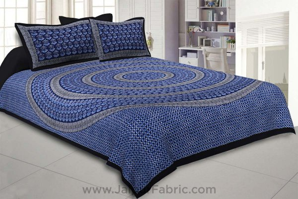 The Blue Circle of Life Black Border Double BedSheet