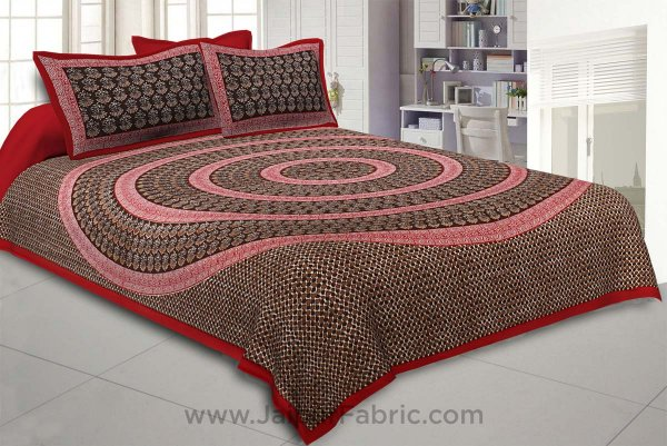 The Brown Circle of Life Red Border Double BedSheet