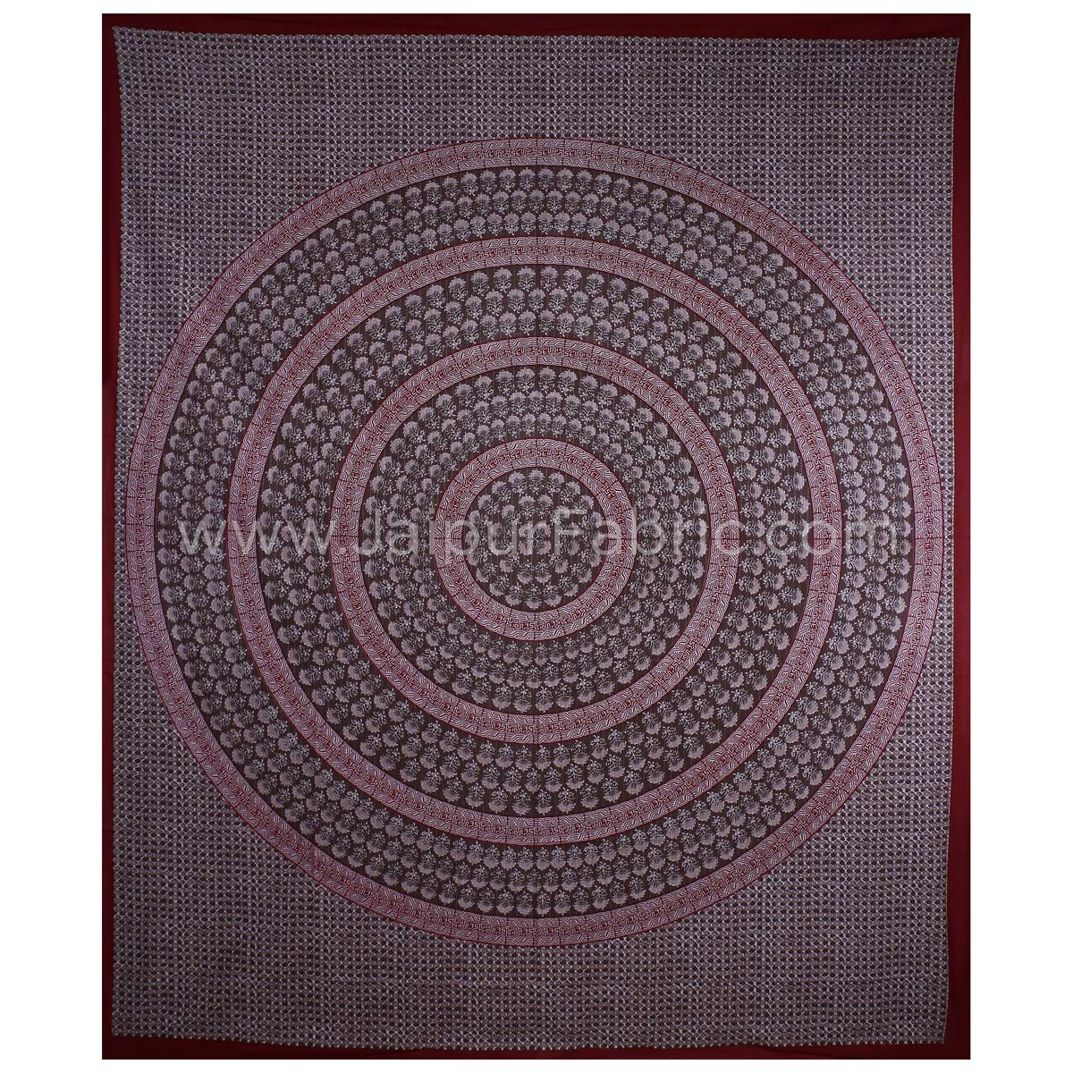 The Maroon Circle of Life Maroon Border Double BedSheet