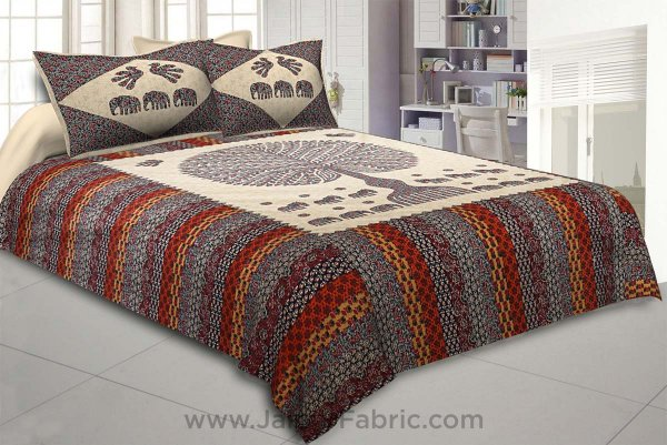 Traditional Wisdom Creamish Double BedSheet