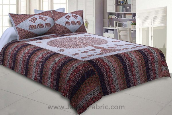 Traditional Wisdom Greyish Double BedSheet