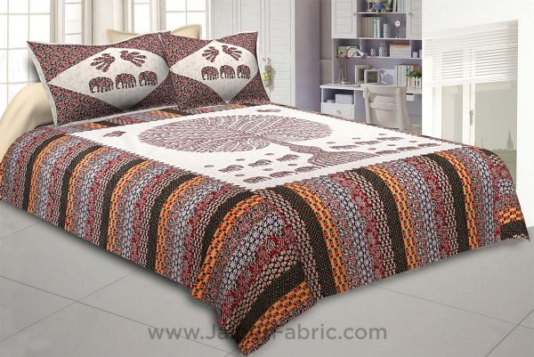 Traditional Wisdom Off-Whitish Double BedSheet
