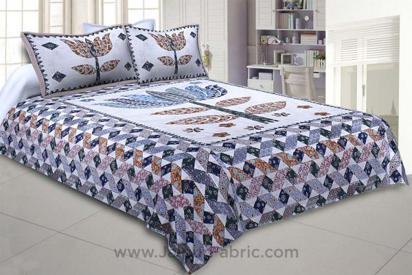 The Big Lotus in Blue White Double BedSheet